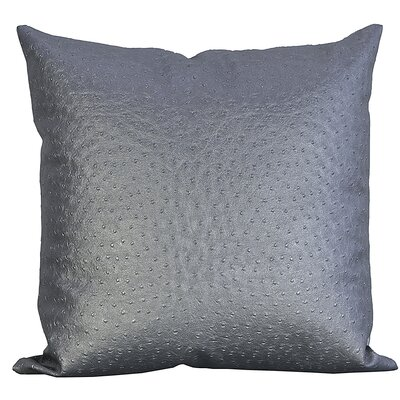 Ostrich-Textured Faux Leather Throw Pillow Color: Silver