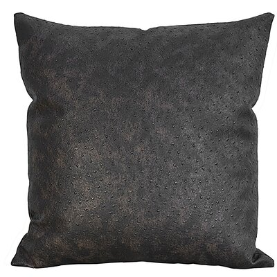 Ostrich-Textured Faux Leather Throw Pillow Color: Distressed Brown