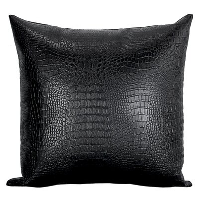 Crocodile-Textured Faux Leather Throw Pillow Color: Black
