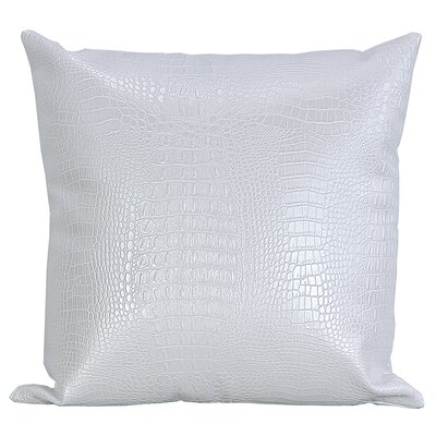 Crocodile-Textured Faux Leather Throw Pillow Color: White