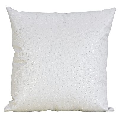 Ostrich-Textured Faux Leather Throw Pillow Color: Pearl/White
