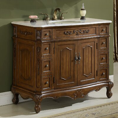 Milan 42 Single Bathroom Vanity Base Finish: Teak
