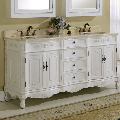Mangold 72 Double Bathroom Vanity Base Finish: Antique White