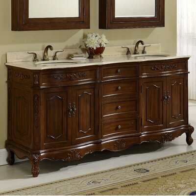 Mangold 72 Double Bathroom Vanity Base Finish: Teak