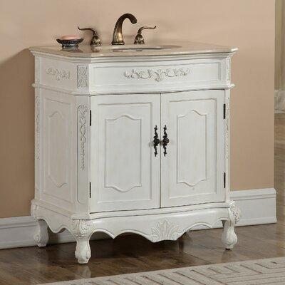 Milan 32 Single Bathroom Vanity Base Finish: Antique White