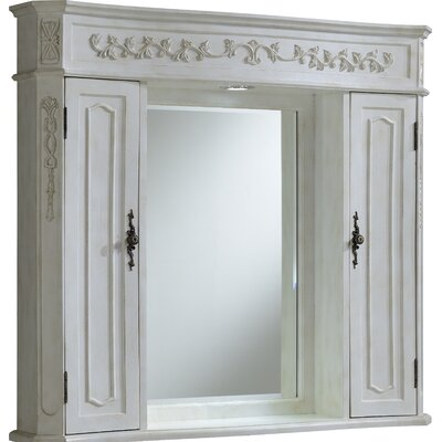 Milan 42 x 38 Surface Mount Medicine Cabinet with LED Lighting Finish: Antique White