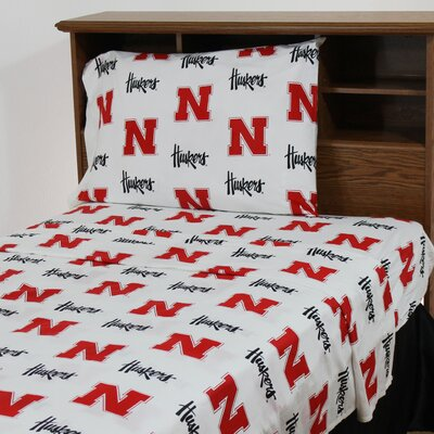 NCAA Nebraska Printed Sheet Set Size: Queen