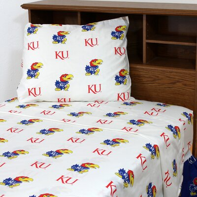 NCAA Kansas Sheet Set Size: Queen