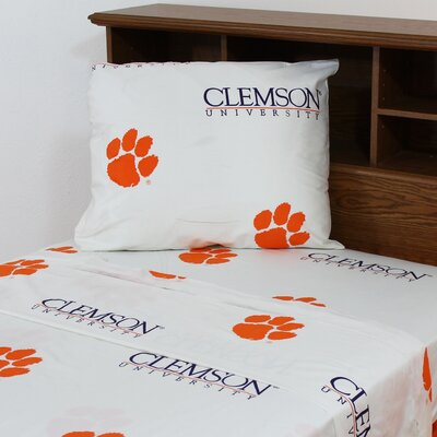 NCAA Clemson Sheet Set Size: Queen