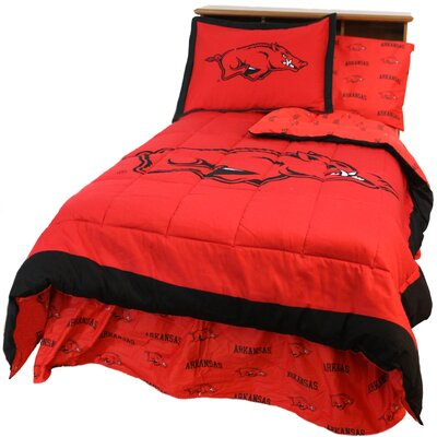 NCAA Arkansas Reversible Comforter Set Size: Queen