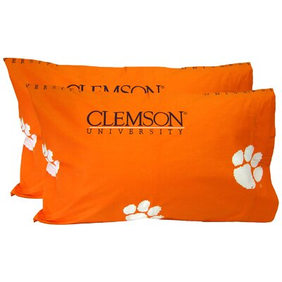 Collegiate NCAA Clemson Tigers Pillowcase Size: King
