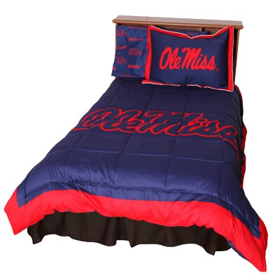NCAA Ole Miss Reversible Comforter Set Size: Queen