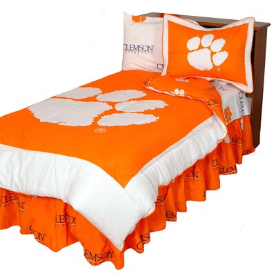 NCAA Clemson Reversible Comforter Set Size: Full