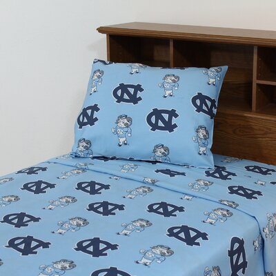 NCAA North Carolina Printed Sheet Set Size: King
