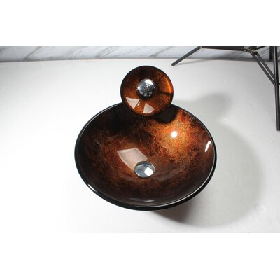 Glass Round Vessel Bathroom Sink Sink Finish: Amber