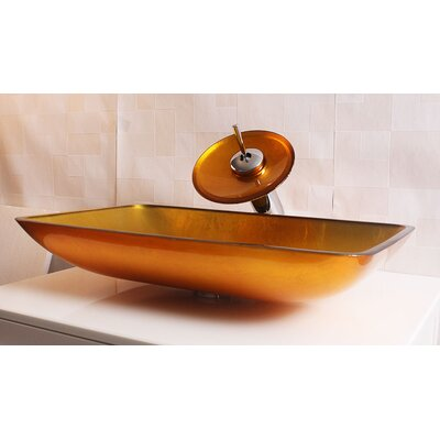 Glass Rectangular Vessel Bathroom Sink Sink Finish: Amber