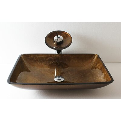 Glass Rectangular Vessel Bathroom Sink Sink Finish: Brown