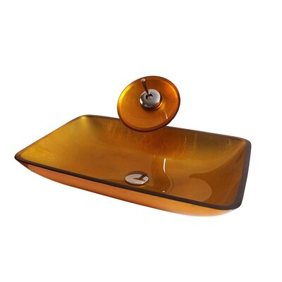 Glass Rectangular Vessel Bathroom Sink with Faucet Sink Finish: Amber