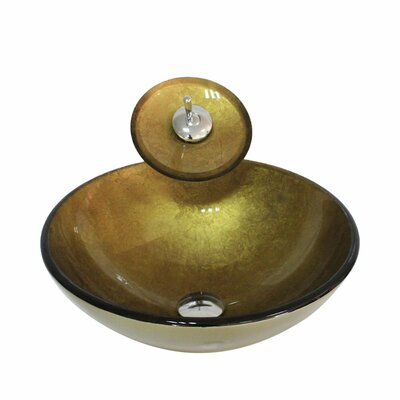 Glass Circular Vessel Bathroom Sink with Faucet Sink Finish: Gold