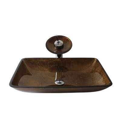 Glass Rectangular Vessel Bathroom Sink with Faucet Sink Finish: Brown