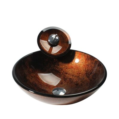 Glass Circular Vessel Bathroom Sink with Faucet Sink Finish: Amber