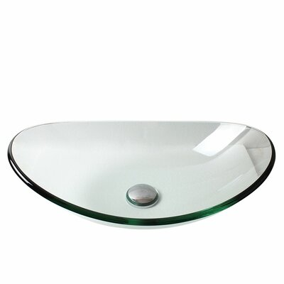 Glass Oval Vessel Bathroom Sink with Faucet Faucet Finish: Brushed Nickel