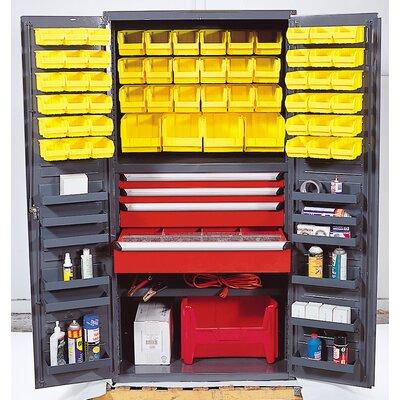 "Quantum 72"" H x 36"" W x 24"" D Welded Storage Cabinet - Bin Color: Ivory"