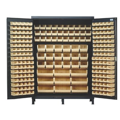 "Quantum 84"" H x 60"" W x 24"" D Super Wide Heavy Duty Storage Cabinet - Bin Color: Green at Sears.com"