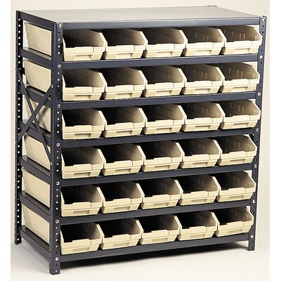 "Quantum Economy Shelf Storage Units (39"" Hx36"" Wx12"" D) w/ Bins -Bin Color:Blue, Bin Dimensions:4"" Hx11 1/8"" Wx11 5/8"" D (qty. 18) at Sears.com"