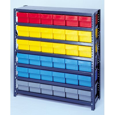 "Quantum Open Shelving Storage System w/ Euro Drawers (39"" Hx36"" Wx18"" D) -Bin Color:Red, Bin Dimensions:4 5/8"" Hx3 3/4"" Wx17 5/8"" D (qty at Sears.com"