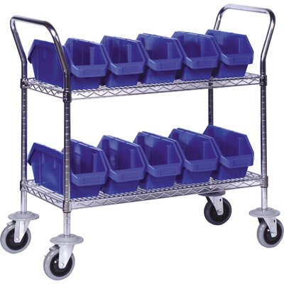 "Quantum 3 Shelf Mobile Wire Cart with Quick Pick Bins - Bin Color: Blue, Bin Dimensions: 7"" H x 6 5/8"" W x 18 1/2"" D (qty. 15) at Sears.com"