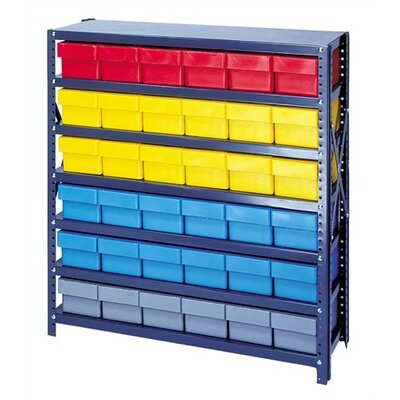 Open Shelving Storage System with Euro Drawers Bin Color: Blue, Bin Dimensions: 2 5/8