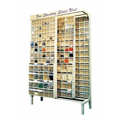 Free Standing Slider Storage System with 5, 6 and 9 Compartment Tip Out Bins Color: White QS-569-56-White
