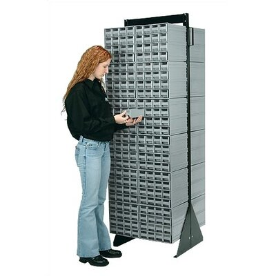 """70"""" H x 23.5"""" W x 11"""" D Double Sided Interlocking Storage Rack Number of Drawers: 96 Drawers, Finish: Gray QIC-248-64GY"""