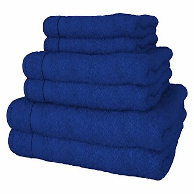 Turkish Quality 100% Cotton 6 Piece Towel Set Color: Royal Blue