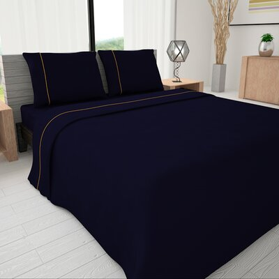 625 Egyptian quality cotton Sheet Set Color: Oxford Blue, Size: Full