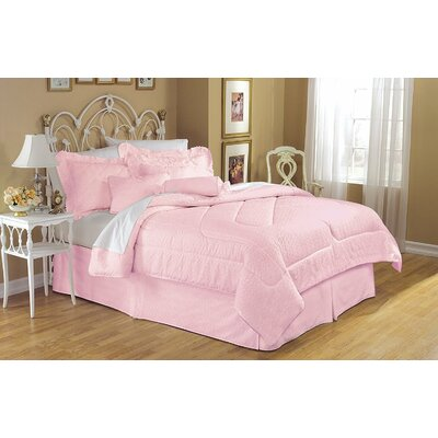 Eyelet 4 Piece Reversible King Bed in a Bag Set Color: Pink