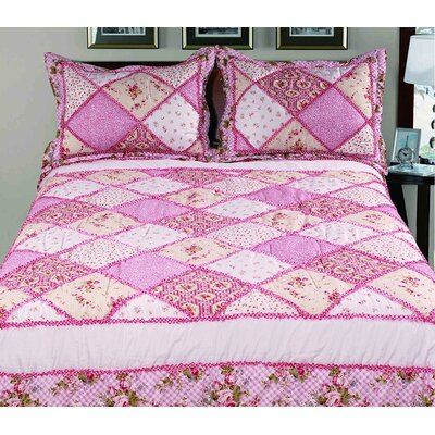 Randal 3 Piece Queen Bed in a Bag Set Color: Pink