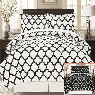 8 Piece Reversible Bed in a Bag Set Color: Black/White, Size: King