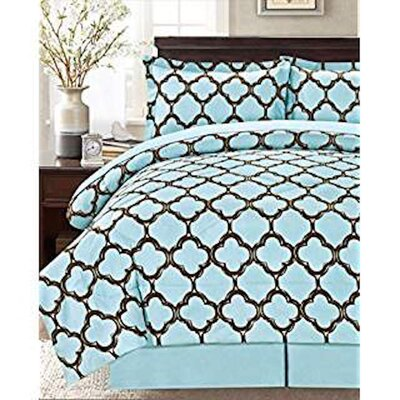 8 Piece Reversible Bed in a Bag Set Size: Queen, Color: Blue/Brown