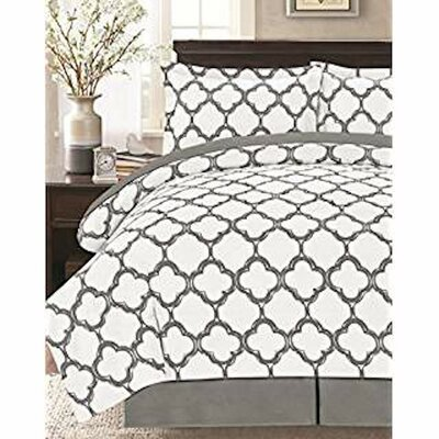 8 Piece Reversible Bed in a Bag Set Size: Queen, Color: Gray/White