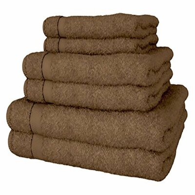 Turkish Quality 100% Cotton 6 Piece Towel Set Color: Brown