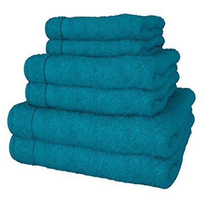 Turkish Quality 100% Cotton 6 Piece Towel Set Color: Teal