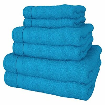 Turkish Quality 100% Cotton 6 Piece Towel Set Color: Turquoise