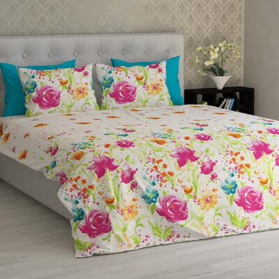 Barnard Flowers Essential Printed 1800 Thread Count 6 Piece Sheet Set Size: Full/Double