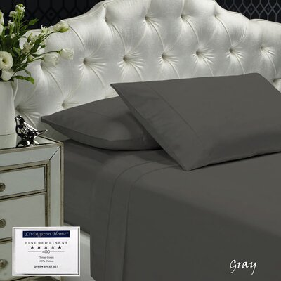 Womack 400 Thread Count 100% Cotton Sheet Set Size: Queen, Color: Gray
