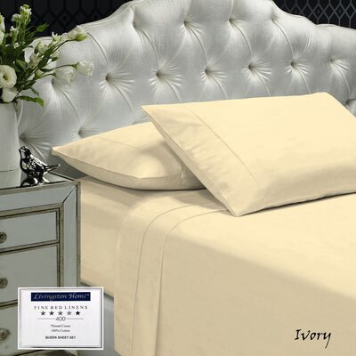 Womack 400 Thread Count 100% Cotton Sheet Set Size: King, Color: Ivory