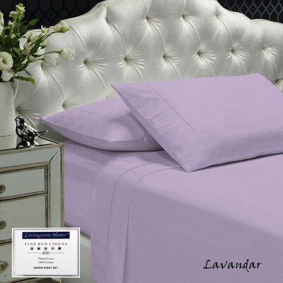 Womack 400 Thread Count 100% Cotton Sheet Set Color: Lavender, Size: Queen