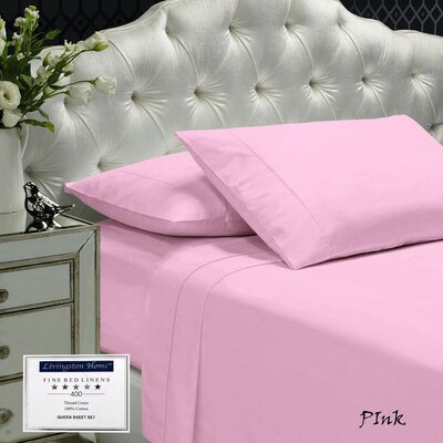 Womack 400 Thread Count 100% Cotton Sheet Set Color: Pink, Size: Queen