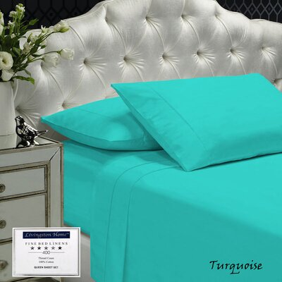 Womack 400 Thread Count 100% Cotton Sheet Set Size: Queen, Color: Turquoise